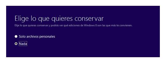 Instalación limpia de Windows 8