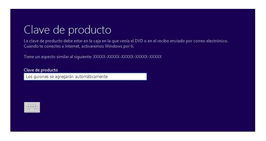 Introducir clave de Windows 8