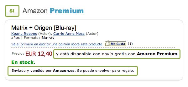 Producto Amazon Premium