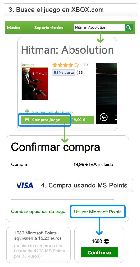 Ejemplo comprar con puntos Xbox