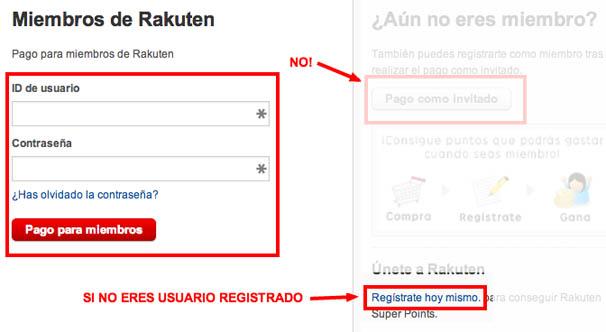 Registro en Rakuten