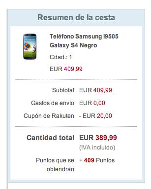 Oferta Galaxy S4 en Rakuten