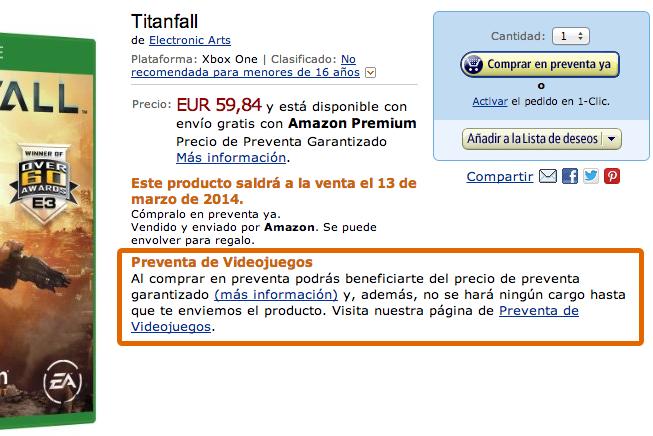 Preventa Titanfall Xbox one
