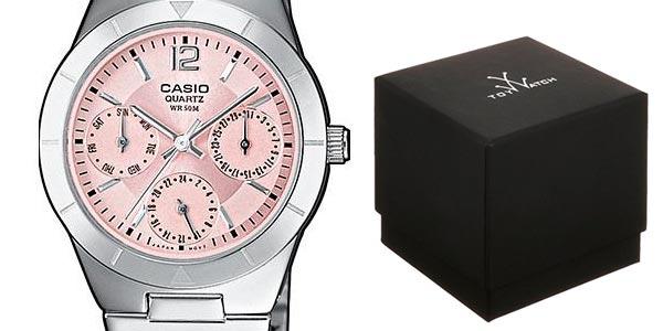 Reloj analógico Casio Collection con esfera rosa para mujer barato en Amazon