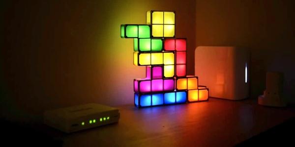 Lámpara LED decorativa con forma de Tetris