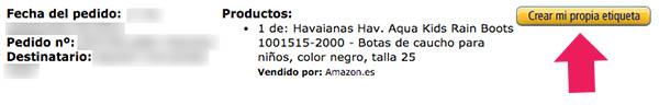 Etiquetas devolucion Amazon
