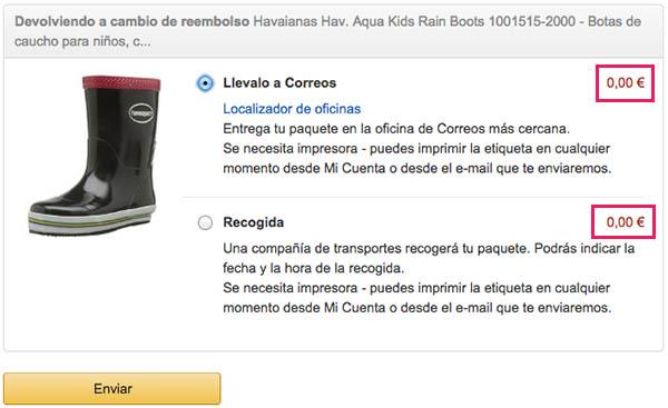 Formas devolución Amazon