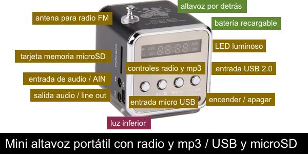 Mini altavoz portátil MP3