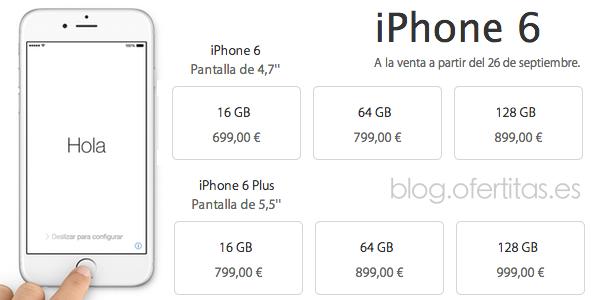 Precios iPhone 6 en España