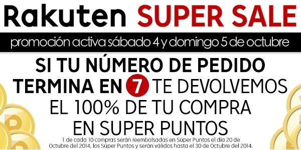 devolución 100% Super Puntos Rakuten
