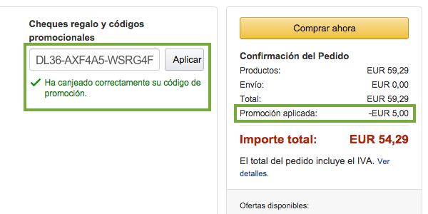 canjear código descuento en Amazon