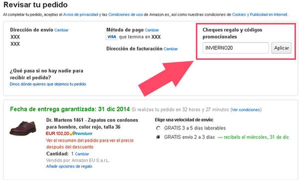 Cheque promocional Amazon