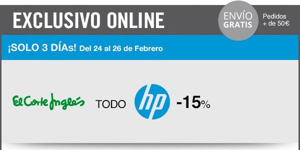 15% descuento HP El Corte Inglés