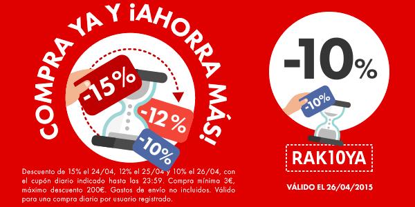 Cupón descuento 10% Rakuten 26-04-2015