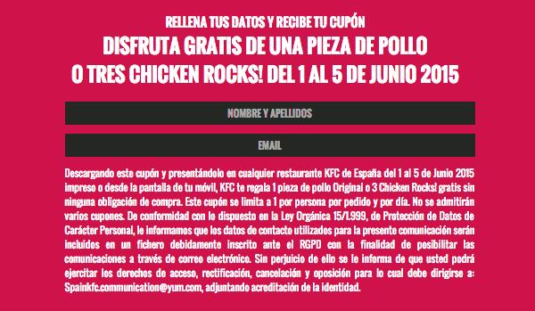 pieza de pollo gratis KFC