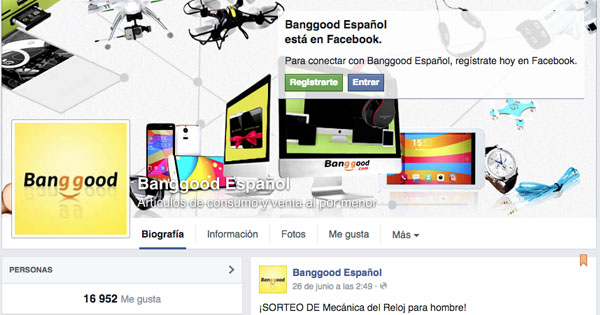 Banggood en facebook