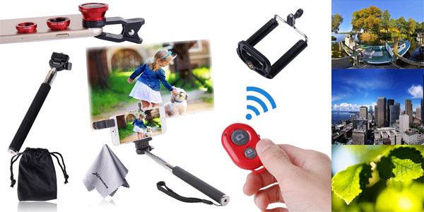 kit fotografico para movil xcsource tripode controlador wireless ojo de pez telescopica