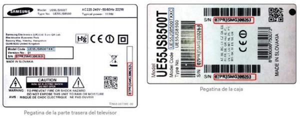 foto legible de la pegatina del televisor Samsung