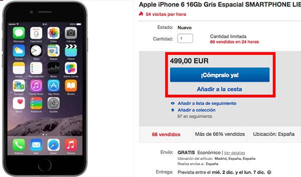 Oferta iPhone 6 en el Black Friday de eBay