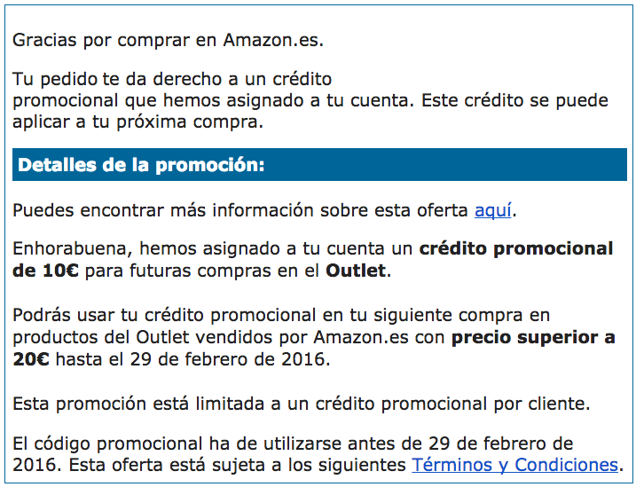 Pedido Amazon Outlet Cheque regalo