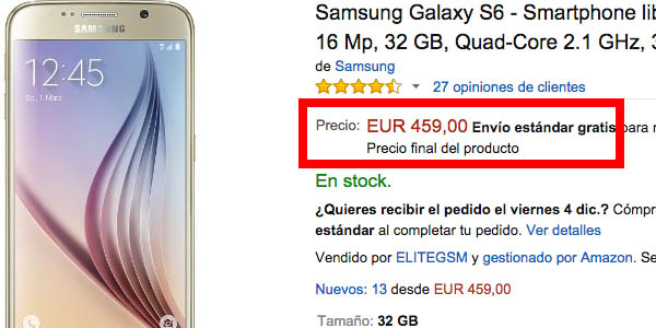 Samsung Galaxy S6 en Amazon