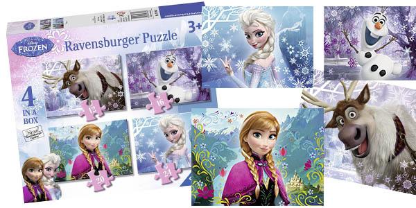 caja 4 puzles infantiles Frozen Ravensburger chollo