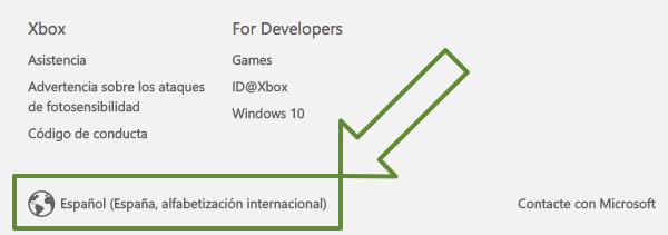 cambio región bazar Xbox.com