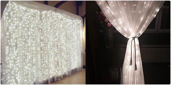 Cortina decorativa luces LED blancas