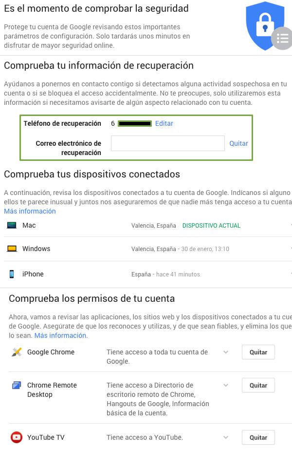 comprobación seguridad Google Drive