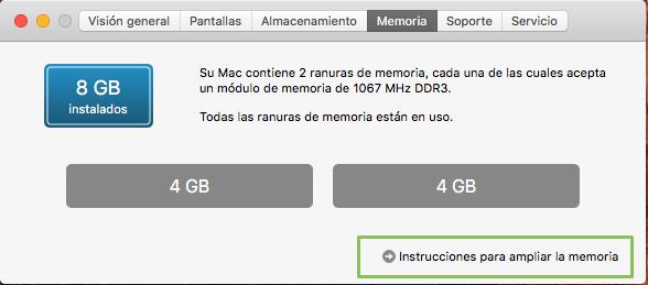 como cambiar memoria Mac