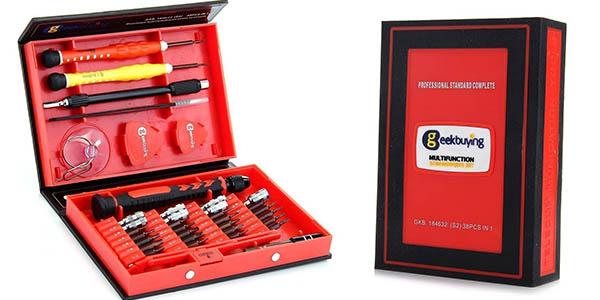 caja de herramientas multiusos con 38 piezas puntas y destornilladores