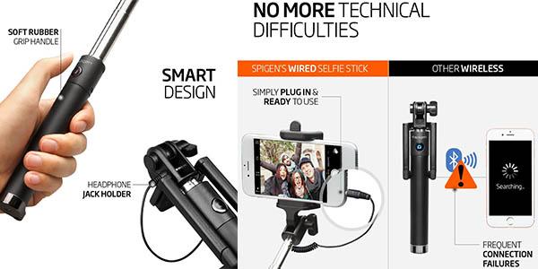 palo selfie plegable con conexion por bluetooth y auriculares