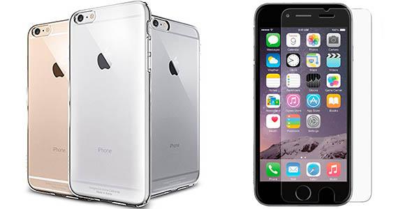 Carcasa gel transparente + protector pantalla iPhone 6