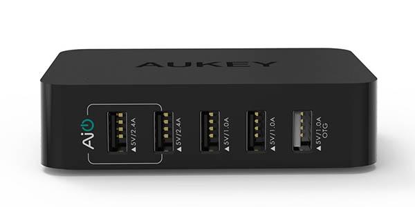 Cargador USB OTG Aukey con 5 puertos