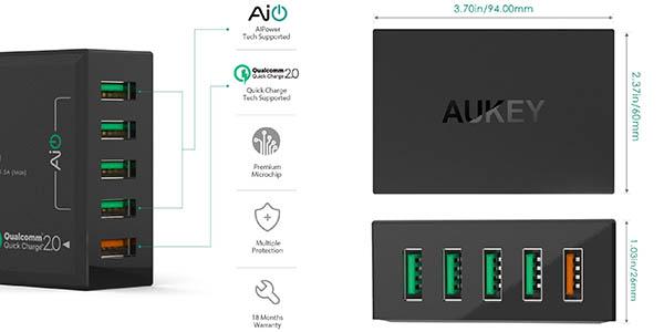 Cargador USB sobremesa Aukey barato