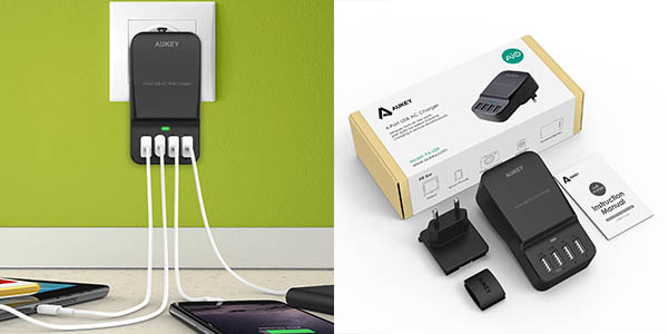 Cargador USB de pared Aukey
