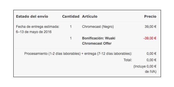 Chromecast 2 gratis con Wuaki
