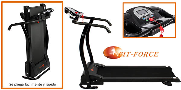 cinta de correr plegable con entrada mp3 y 1500w fit force barata