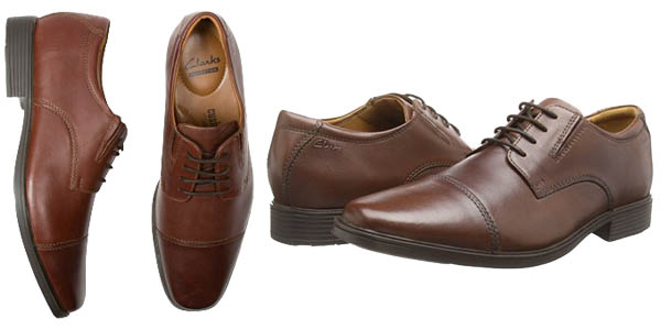 clarks tilden cap zapatos de punta cuero marron para hombre