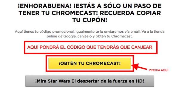 Código Chromecast 2 gratis