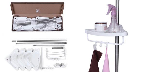 estanteria funcional de acero inoxidable y polipropileno duro para orden en lavabo