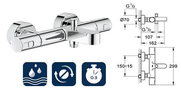 grifo empotrable grohe precision joy con sistema de seguridad temperatura y ahorro de agua