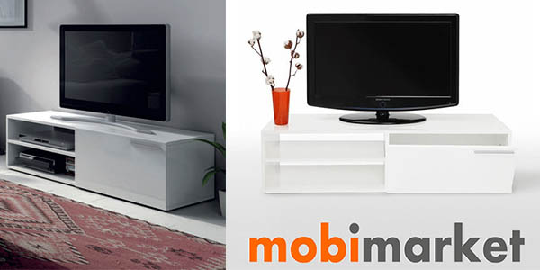 mueble bajo para tv mobimarket lacado en blanco brillo superweekend ebay