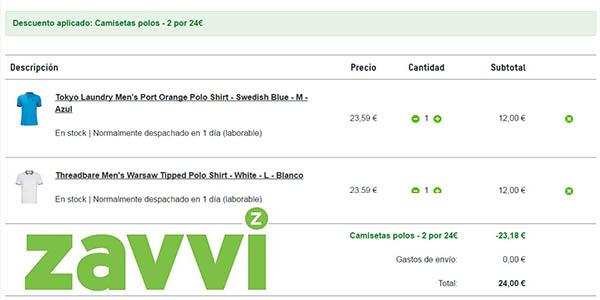 zavvi 2 polos por 24 euros en tallas y colores