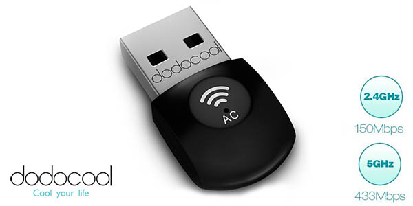 Adaptador USB inalámbrico dodocool Dual Band AC600