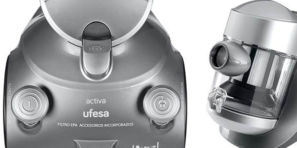 aspirador compacto y potente ufesa as2300 con ruedas y filtro-hepa
