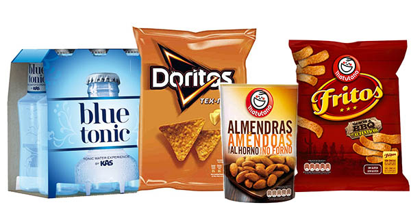 chips frutos secos bebidas con y sin gas baratas