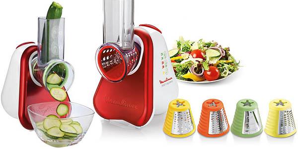 moulinex fresh express rallador electrico con 5 cilindros para cortar verduras y frutas de forma limpia