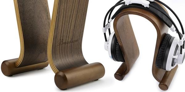 soporte de madera de diseño para auriculares