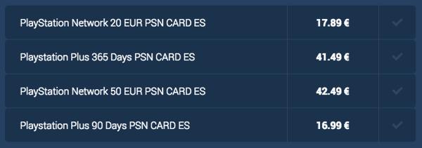 tarjetas PSN baratas